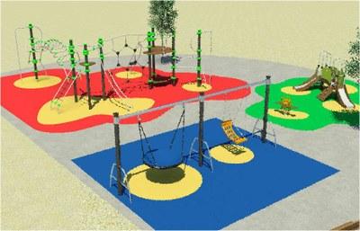 Imatge virtual de la zona de jocs infantil