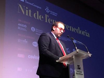 L'alcalde i president del TecnoCampus, durant la Nit de l'emprenedoria. Foto: Ajuntament