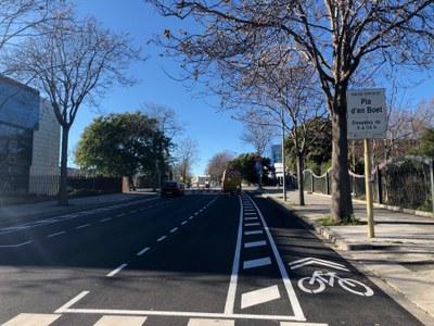 El nou carril bici, des de la confluència amb l'avinguda de Lluís Companys. Foto: Ajuntament