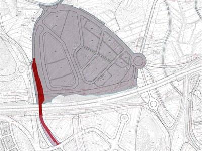 Sector de Vallveric, amb el repartiment de les futures obres (la part més fosca correspon al sector, la més clara a l'Ajuntament)
