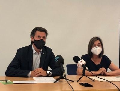 Miquel Àngel Vadell i Trinidad Palomino durant la roda de premsa. Foto: Ajuntament