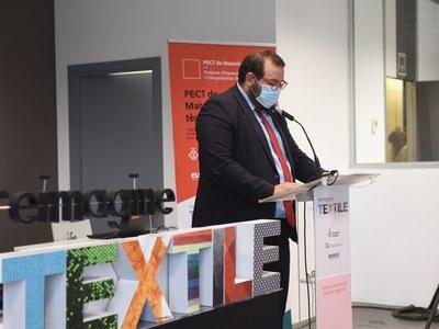 L'alcalde, David Bote, en la presentació del Reimagine Textile.