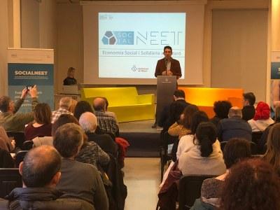 El regidor d'Ocupació i Empresa, Sergi Morales, en la presentació de Social NEET. Foto: Ajuntament
