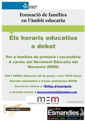 """Acte """" Els horaris educatius a debat """""""