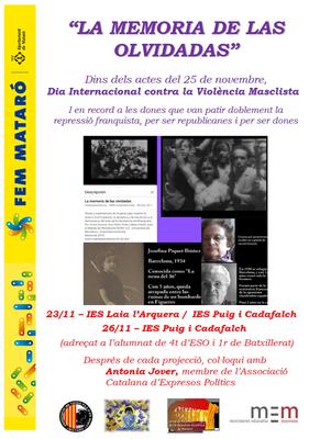 """Documental i debat:  """"La memoria de las olvidadas"""""""