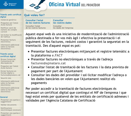 L oficina virtual del prove dor rep 118 factures for Oficina virtual del